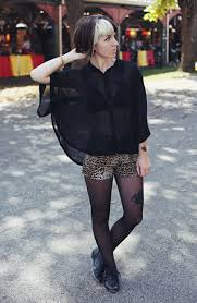 black pantyhose and see thru blouse with leopard print shorts my