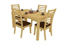 Modena Natural Dining Table Set 4 Seater Rubberwood