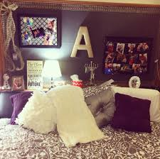Awesome Purple Themed Dorm Room Color Schemes With Patterned Bed Featuring Various Edgy Pillows Plus Custom Black Corkboard And Elegant Small Fabric Shades