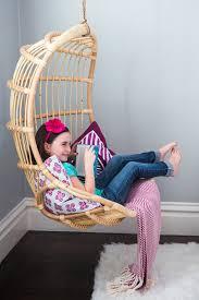 rattan hanging chair girls bedroom