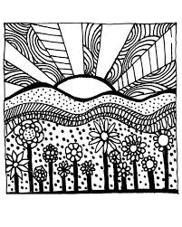 Download Printable Adult Coloring Page Digital Hand Drawn Papers By Me Printables Sun Sunset Flowers Hills