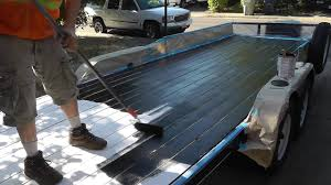100 Roll On Truck Bed Liner Iron Armor Painted On Wood Trailer YouTube