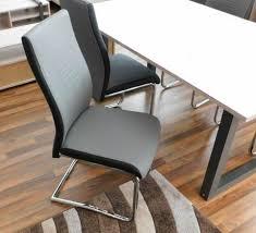 schwing stuhl esszimmer grau schwarz eisengestell kunst leder