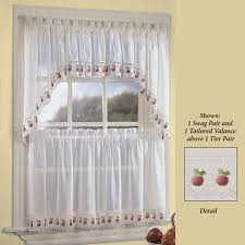 White Kitchen Curtains With Sunflowers by Kitchen Curtains Tiers And Valance Window Treatments Touch Of Class