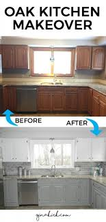 37 Brilliant DIY Kitchen Makeover Ideas Oak Cabinet KitchenGrey Painted CabinetsUpdating CabinetsCheap RemodelKitchen