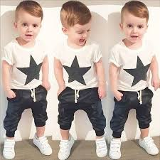 Baby Boy Clothes Set 2pcs Black Star Print Short Sleeve T Shirt Top Pant
