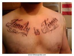 Family Is Forever Quote Tattoo On Man Chest