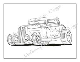 Coloring Page Classic Car Hot Rod
