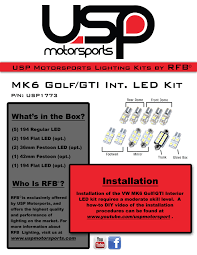 Induction Lamps Vs Led by Rfb Mk6 Gti Golf Standard Interior Led Kit Rfb Mk6g Int1 1773
