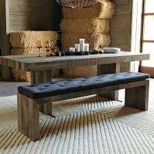 Dining Tables With Benches Kitchen Bench Back Unfinished Of Thick Rectangle Wooden