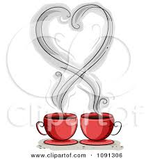 Clipart Heart Shaped Coffee Steam Over Two Red Mugs Royalty Free 7N9ddb