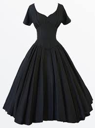 Black Audrey Hepburn Dress Vintage Style V Neck Short Sleeves Midi Party Swing