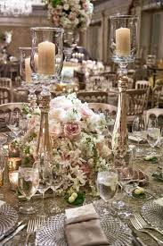 White Pink Rose Wedding Centerpiece With Tall Candleholder Cut Crystal Charger Plates