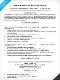 Medical Assistant Example Resume Objective Examples Entry Level