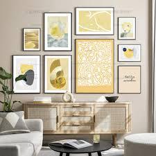 grosser rabatt abstrakte leinwand malerei grau und gelb