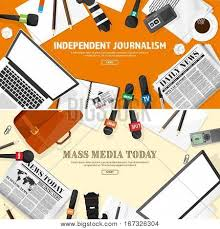 Mass Media Background In A Flat StylePress Conference With Correspondent And ReporterBroadcasting Create Lightbox