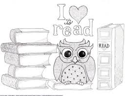 I Love To Read Owl And Books Coloring Page Bookmarks