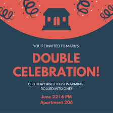 Blue And Red Housewarming Birthday Invitation
