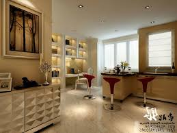 Living Room Mini Bar Furniture Design Laminated Marble Countertop Classic Pendant Lamps Frosted Glass Door Round