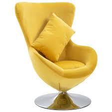 vidaxl drehstuhl in ei form mit kissen gelb samt