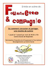 atelier cuisine centre social atelier cuisine fourchette et compagnie chemins de faire rosporden