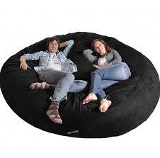 Amazon 8 Round Black SLACKER Sack Biggest Foam Bean Bag Microfiber Cover Like LoveSac XXL Chairs Garden Outdoor