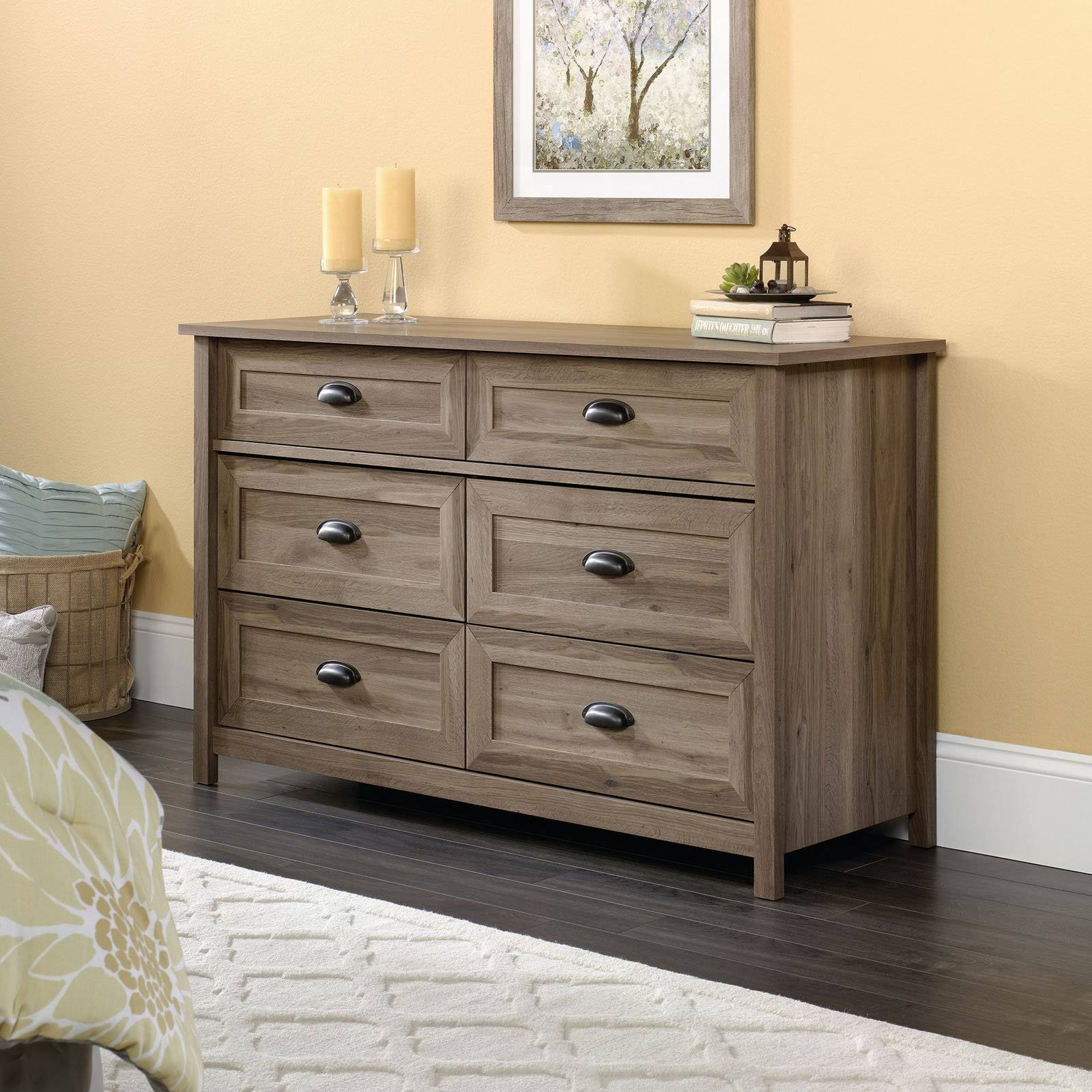 Sauder County Line 6 Drawer Dresser - Salt Oak Finish
