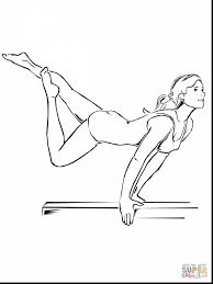 Stunning Beam Artistic Gymnastics Coloring Page Printable Pages With And Preschool