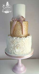 Sparkly Gold Sequins And Ruffles Wedding Cake By Queen Of Cakes