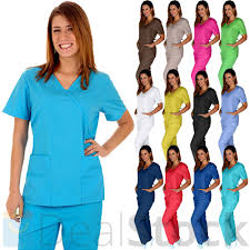 Ceil Blue Scrub Sets by Medical Nursing Men Women Adjustable Scrub Set Top Pants Hospital