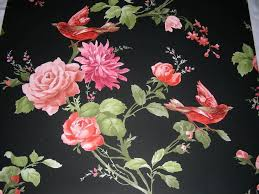 Vintage Retro Style Shabby Chic Oriental Black Floral Roses Bird Wallpaper Roll