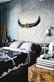 Bedroom Vintage With Dark Grey Bed Feat Pillows And Brown Rustic Dresser Books Above Also Small Silver Table Lamp Painted Brick