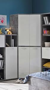 eckschrank kleiderschrank schrank 92x92cm beton lichtgrau weiß hochglanz neu