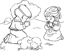 Coloring Page Girl Praying Kids Drawing And Pages