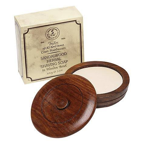 Taylor Of Old Bond Street Herbal In Shaving Soap In Wooden Bowl - 100g, Sandalwood