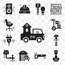 Set Of 13 Transparent Editable Icons Such As Trucks, Paper Work ...