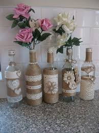 Rustic Country Shabby Chic Wedding Decoration Centre Pieces Pretty Bottles X5