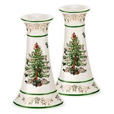 Spode Christmas Tree Gold Candlesticks Set Of 2