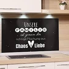 grazdesign fliesenspiegel küche familienspruch glasrückwand küche küchenspruch rückwand küche küchenmotiv küchenrückwand glas schwarz 80x40cm