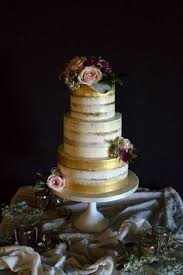 Gold Brushed Semi Naked Wedding Cake Could Be With Whatever Flower Colours You Choose