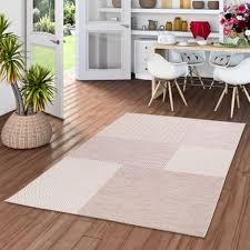 in und outdoor teppich flachgewebe cape cod karo rosa