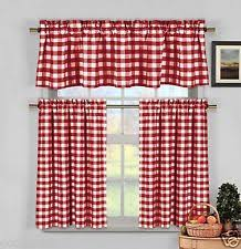White Kitchen Curtains With Red Trim by Kitchen Curtains Ebay