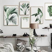 aquarell grün pflanzen blätter leinwand gemälde nordic