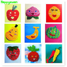 Happyxuan Tissue Paper Art Stickers Fruit Vegetables DIY Handmade Crumpled Ball Craft For Kids Early Learning
