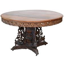 Anglo Indian Teak And Padouk Center Dining Table For Sale