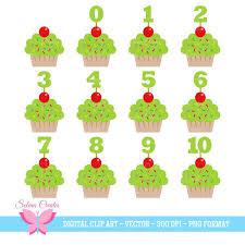 Cupcake Clipart Digitale Kalk Grune Cupcakes