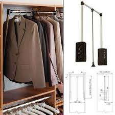 details zu black wardrobe and bedroom clothes rail extendable up to 450 600mm pantograph