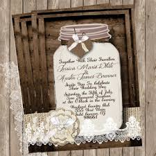 Attractive Rustic Mason Jar Wedding Invitations Combined With White Lace And Lovely Ribbon On