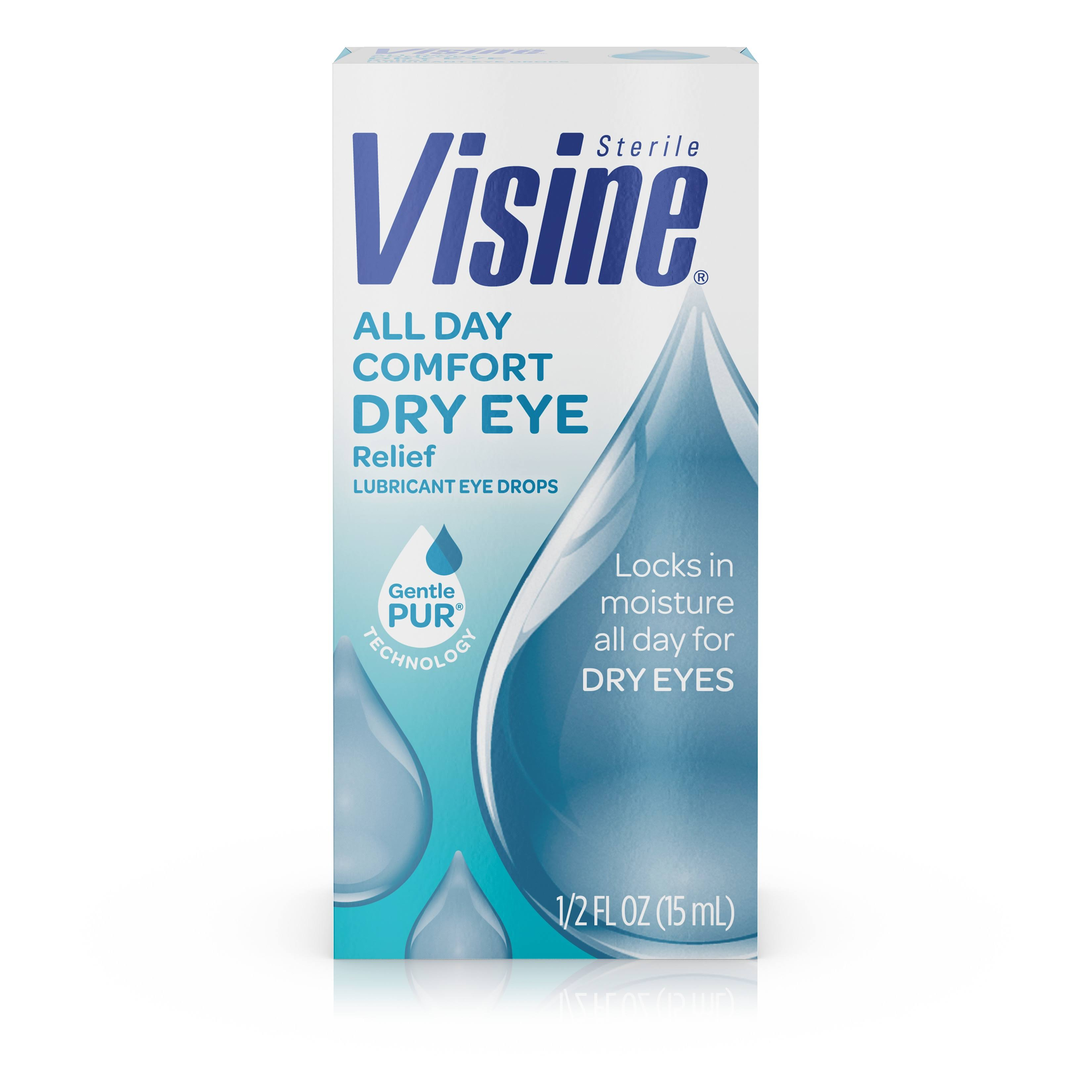 Visine Sterile All Day Comfort Dry Eye Relief Lubricant Eye Drops - 15ml