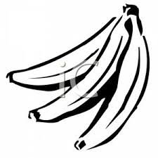 A Banana Bunch In Black and White Clipart Image